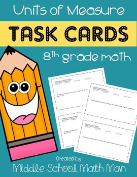 These Units of Measure Task Cards are a great way to reinforce and/or review these 5 tasks with your 8th grader through the Summer. :: www.thriftyhomeschoolers.com