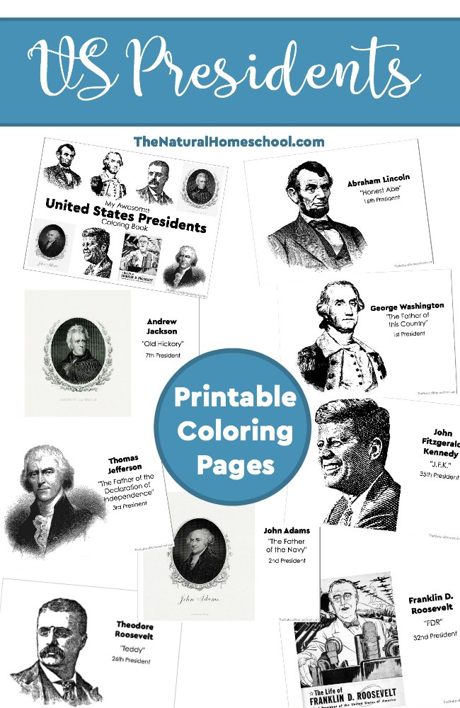 These US Presidents Coloring Pages can be used in a US History unit, in US President lessons or during patriotic holidays, like the 4th of July. :: www.thriftyhomeschoolers.com