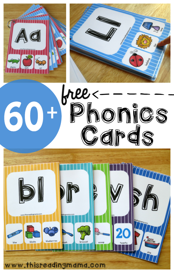 Help kids work on their letters, beginning sounds, blends, digraphs & more with these Free Phonics Cards. :: www.thriftyhomeschoolers.com