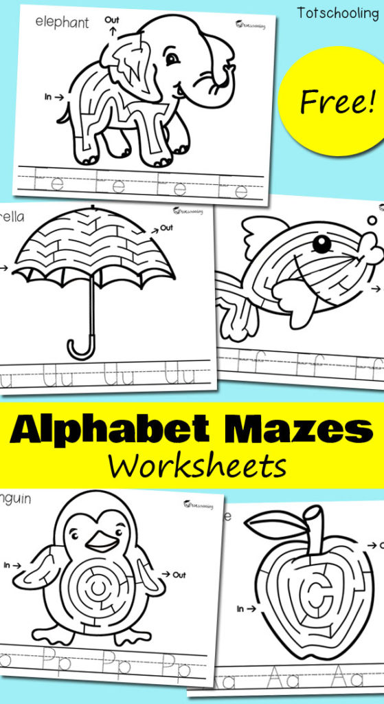 Working on the alphabet with your child? Don't miss these fun Alphabet Maze Worsksheets! :: www.thriftyhomeschoolers.com
