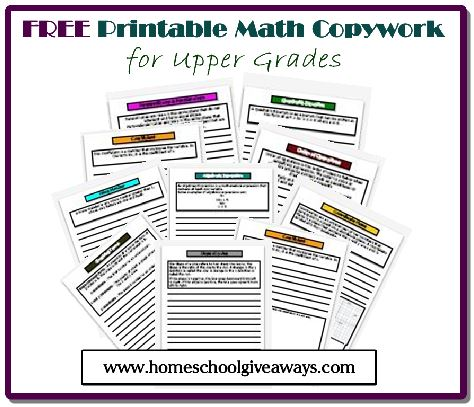 Does your child struggle with remember math terms or the order of operations? Check out this free Math Copywork for Upper Grades & High School! :: www.thriftyhomeschoolers.com