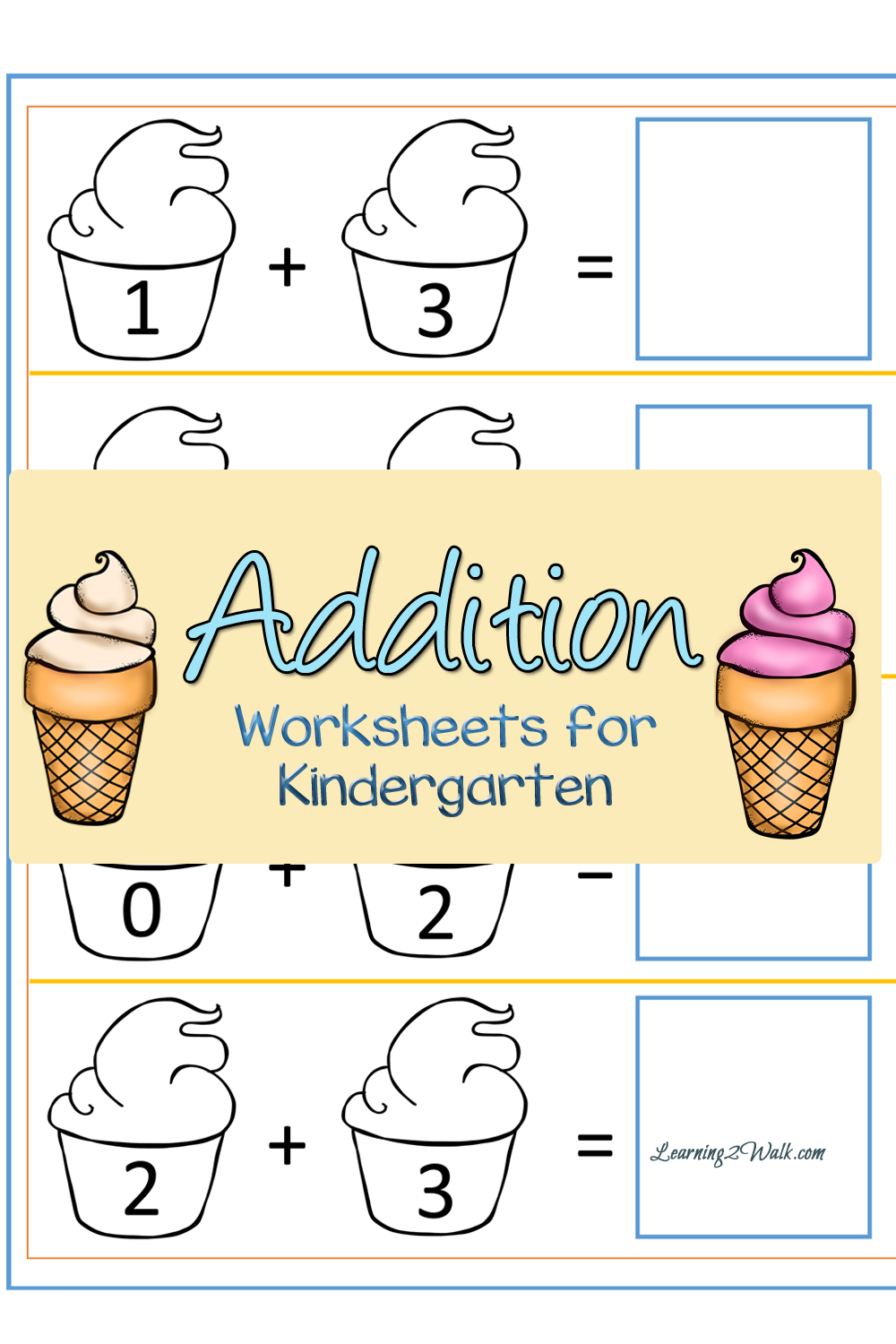 Ice Cream themed Addition Worksheets - Thrifty Homeschoolers