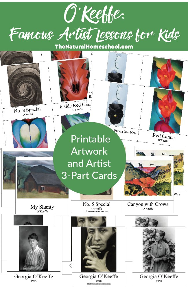 Help kids learn more about famous artist, Georgia O'Keefe, with these printable Artwork and 3-part Cards. :: www.thriftyhomeschoolers.com