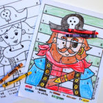 Boy & Girl Pirate Color-by-Number Pages