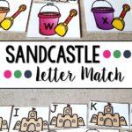 Sandcastle themed Letter Match Printables