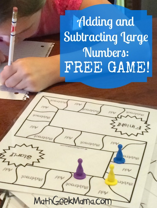 If your kids are working on their large number addition and subtraction skills, don't miss this fun game. :: www.thriftyhomeschoolers.com