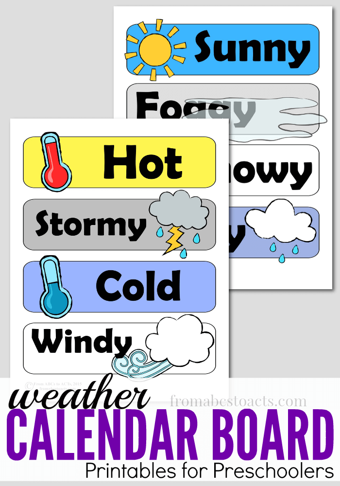 Use these free daily Weather Board printables with your preschoolers, as they learn how to describe the weather outside! :: www.thriftyhomeschoolers.com