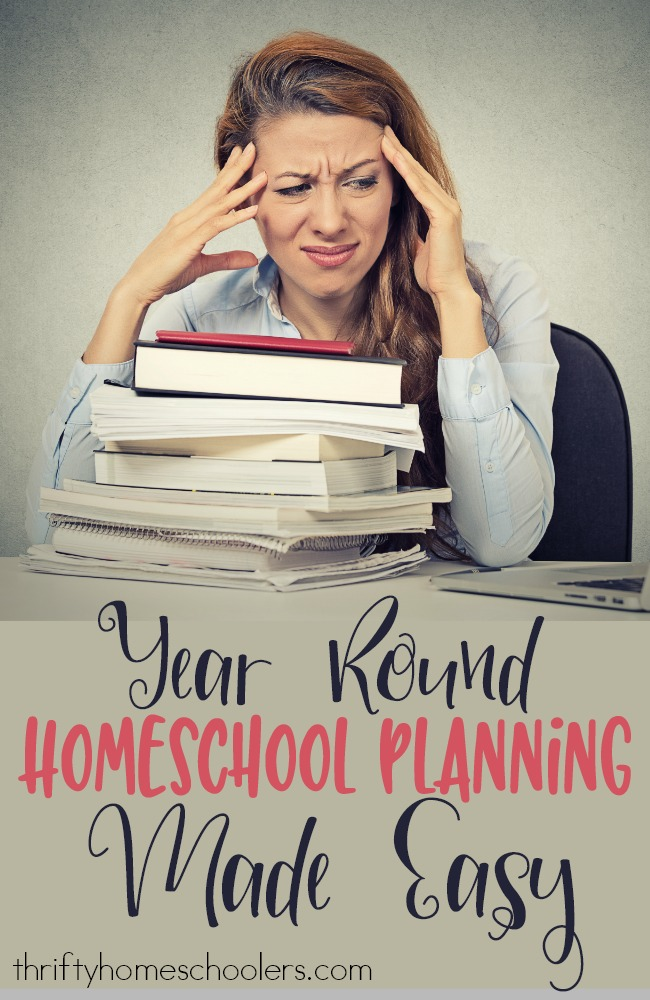 Does planning your homeschool year stress you out? Check out how I'm planning ours this year...without the stress! :: www.thriftyhomeschoolers.com