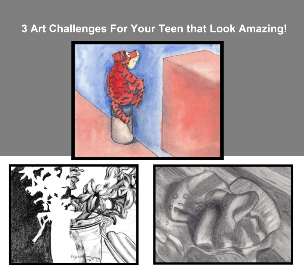Do you have a budding artist in your home? Or a child that just likes to draw? Check out these 3 Free Art Challenges for teens to help them improve and learn more about art! :: www.thriftyhomeschoolers.com