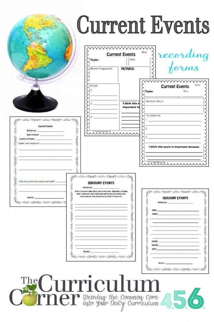 Teach your kids how to learn about the events of the world as well as local news with these printable recording forms. :: www.thriftyhomeschoolers.com