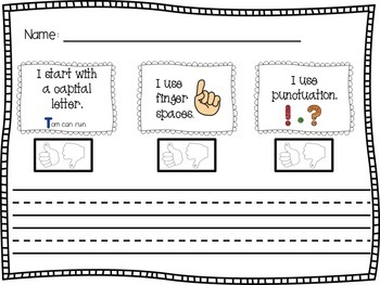 """Use this paper for sentence writing or dictation practice. When students complete their sentence they can color in the """"thumbs up"""" or """"thumbs down,"""" assessing their own writing. :: www.thriftyhomeschoolers.com"""