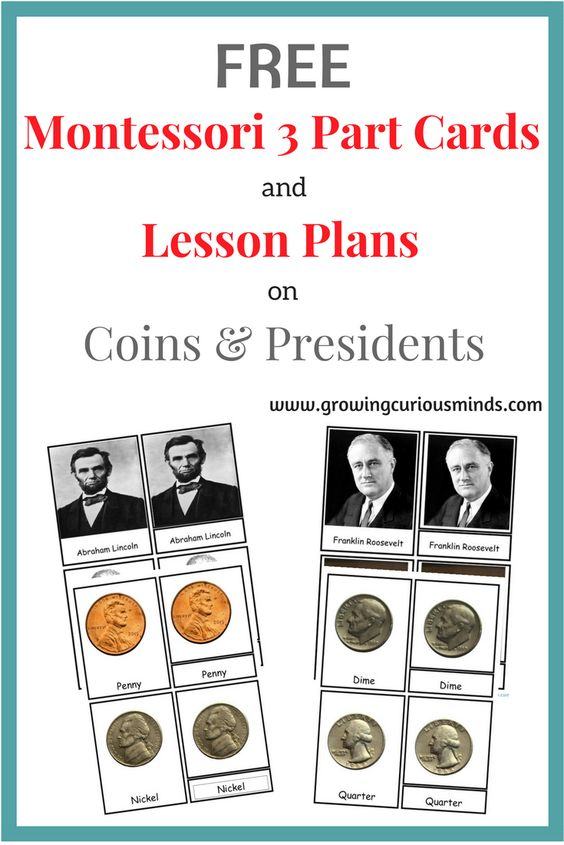 Learn about coins, presidents and more with these Montessori-inspired 3-part cards! :: www.thriftyhomeschoolers.com