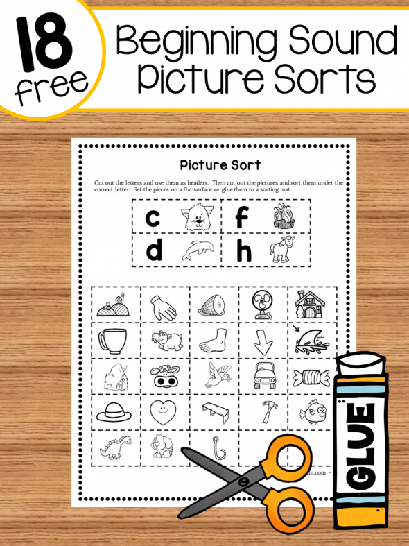 Be sure and grab this free Beginning Sounds Picture Sorting activity. This is a simple and fun way to help them work on their letters and sounds! :: www.thriftyhomeschoolers.com