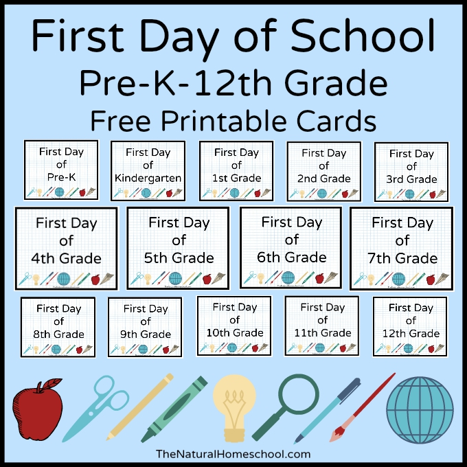 Want to remember what your kids looked like on the first day of school? Simply print and snap as many pictures as you like for the occasion! :: www.thriftyhomeschoolers.com
