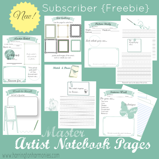 You can use the Artist Notebooking Pages as a complete unit study or as a way to briefly learn about an artist. :: www.thriftyhomeschoolers.com