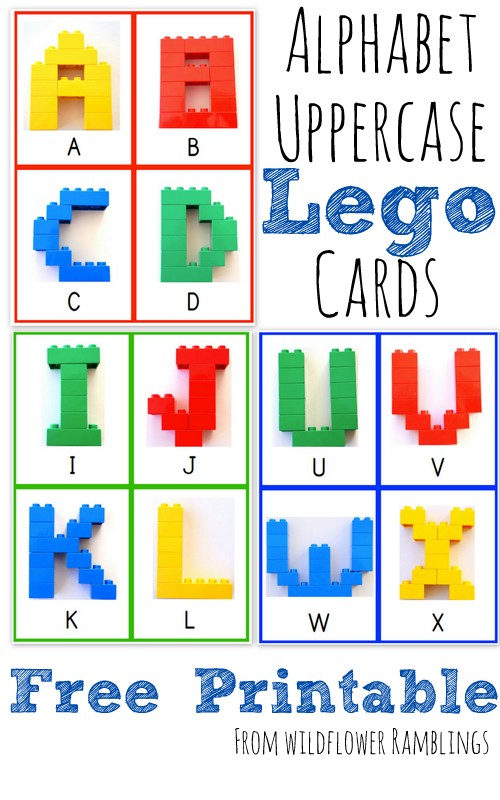 Combining hands-on, fine motor skills learning with LEGO and these alphabet cards are sure to be a hit! :: www.thriftyhomeschoolers.com