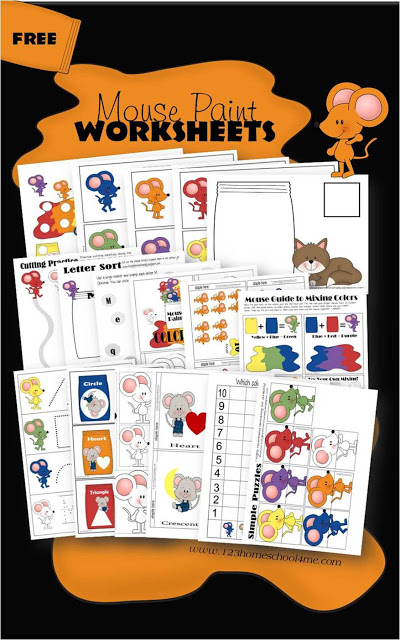 "Grab the book and download these adorable ""Mouse Paint"" Worksheets to get started today! :: www.thriftyhomeschoolers.com"