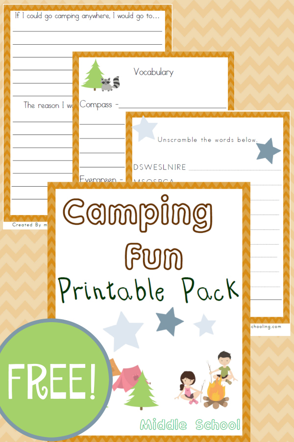 Does your family like camping? Check out these fun Camping inspired Middle School printables from Year Round Homeschooling! :: www.thriftyhomeschoolers.com