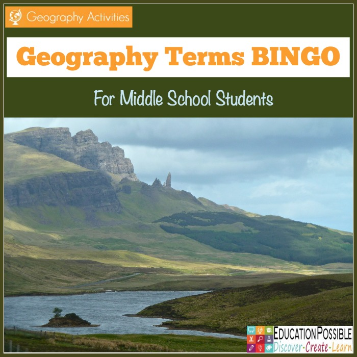 Do your students struggle to remember the definitions of geography terms? Help them remember with this fun Geography BINGO game. :: www.thriftyhomeschoolers.com