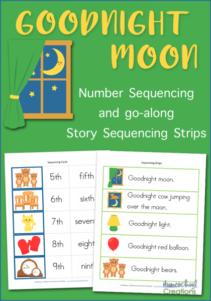 """Grab these printable sequencing cards for a childhood favorite book, """"Goodnight Moon"""". Kids can work on their reading and listening comprehension skills while having fun! :: www.thriftyhomeschoolers.com"""