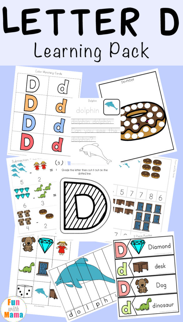 With 80 pages of printable activities, tracing practice, puzzles, math and more, little ones will love working through this Letter D packet! :: www.thriftyhomeschoolers.com