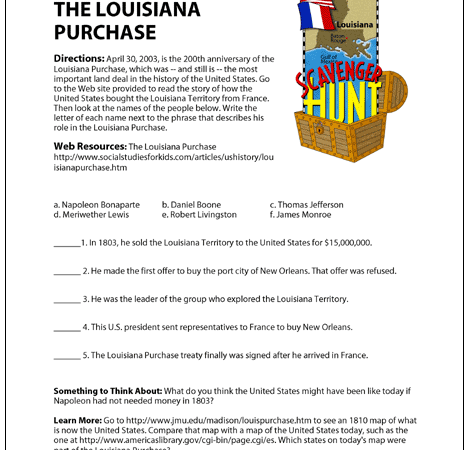 Louisiana Purchase Worksheet