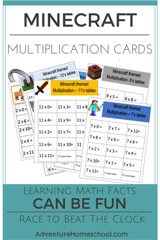 Inspire your Minecraft fan to learn their multiplication facts with these printable math cards! :: www.thriftyhomeschoolers.com