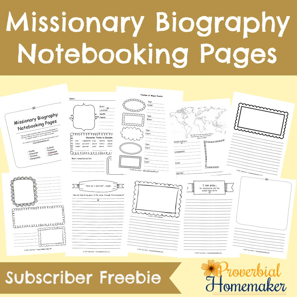 If you're studying Missionaries, don't miss these Missionary Biography Notebooking Pages to add to your unit! :: www.thriftyhomeschoolers.com