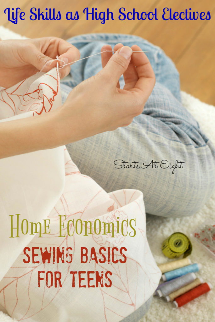 Make sure your teen (boy or girl) knows the basics of sewing with these free tutorials and handy printable checklist! :: www.thriftyhomeschoolers.com