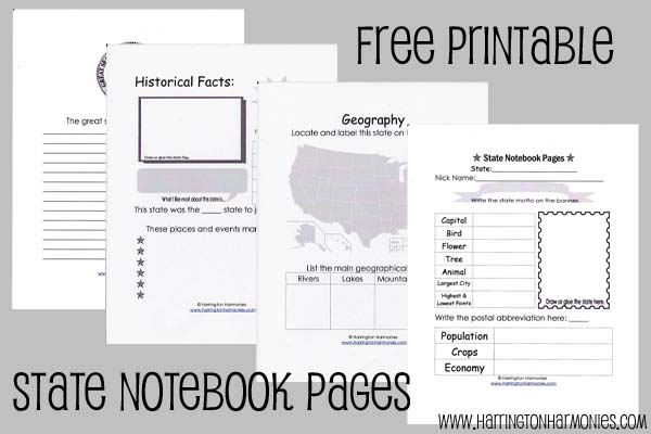 State Notebooking Pages for Older Kids