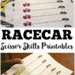 Racecar themed Scissor Practice Worksheets