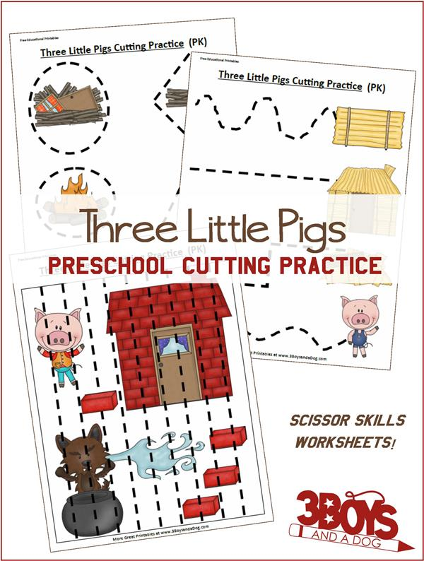 Preschoolers need to work on their cutting skills. Try these Three Little Pigs themed Preschool Cutting Practice Worksheets. :: www.thriftyhomeschoolers.com