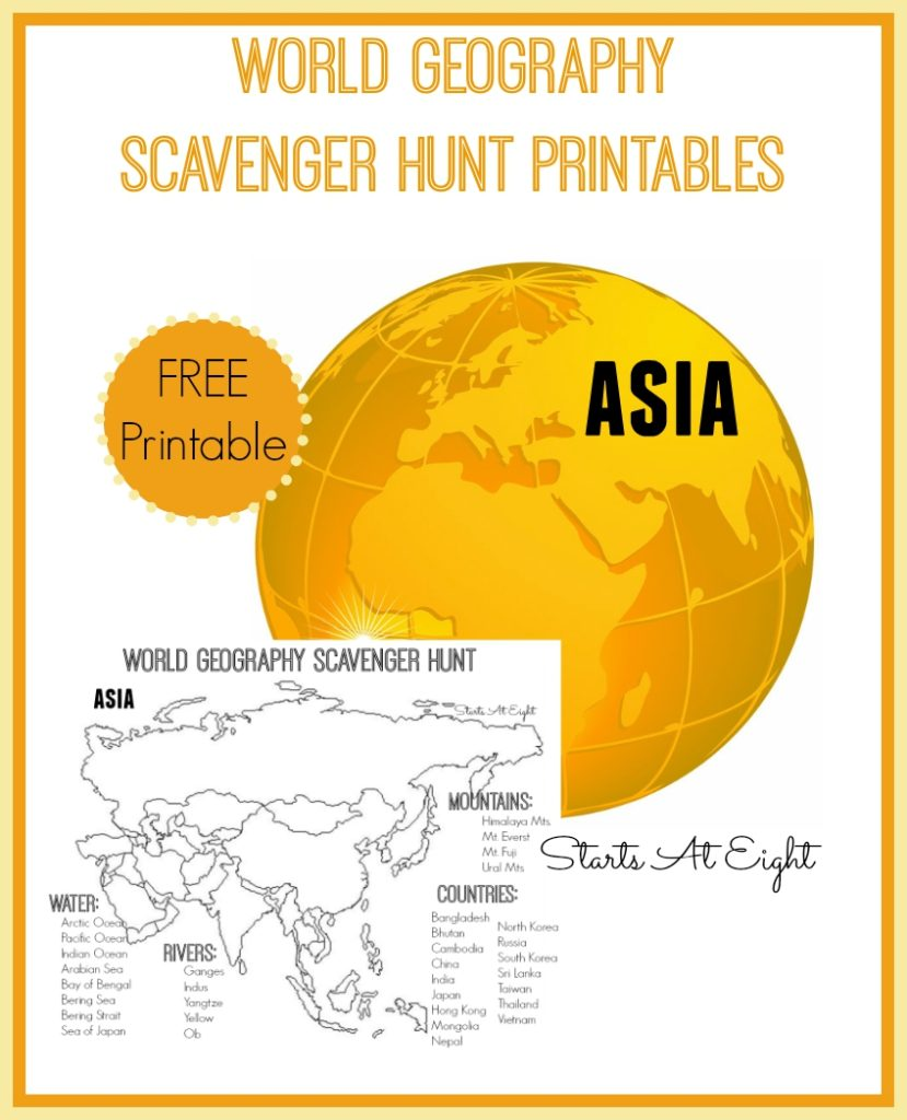 Make geography lessons more fun with this printable World Geography Scavenger Hunt of Asia. :: www.thriftyhomeschoolers.com