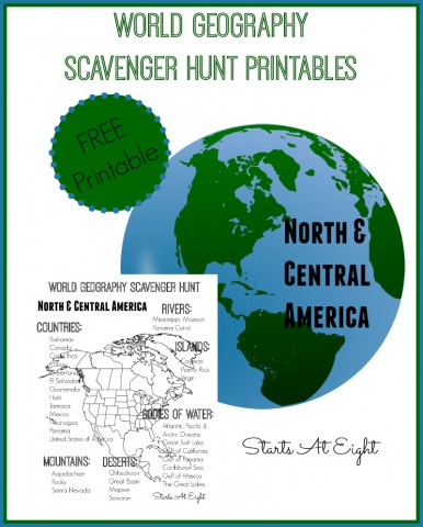Kids will enjoy working on their geography skills with these printable North & South America Scavenger Hunts! :: www.thriftyhomeschoolers.com