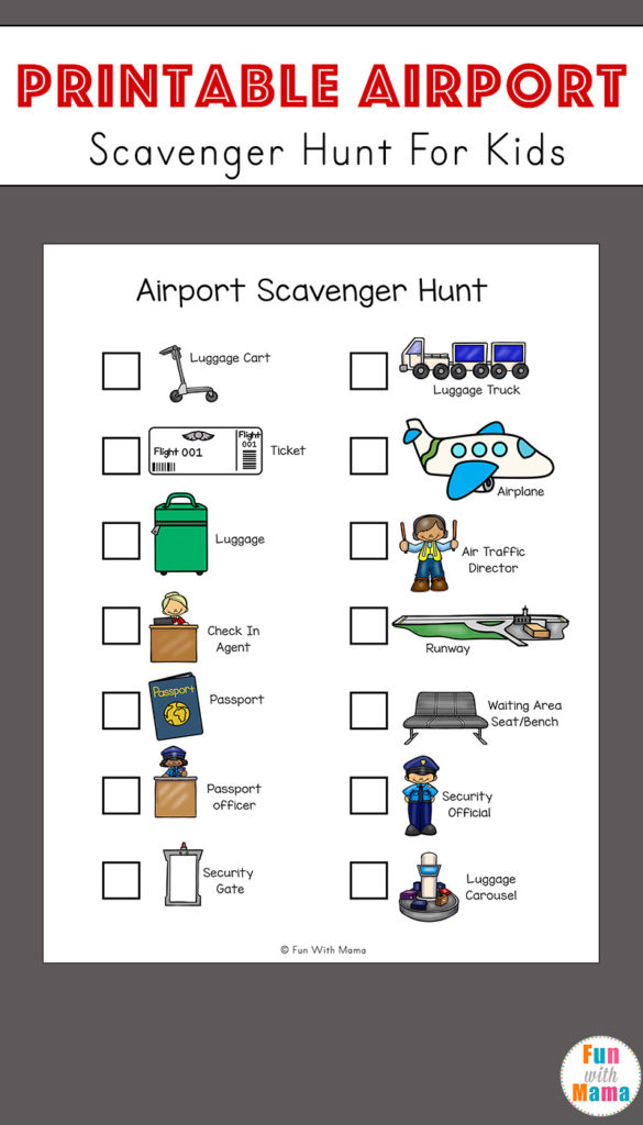 Grab this free, printable Airport Scavenger Hunt for kids to help keep them occupied while you wait before you leave and during layovers. :: www.thriftyhomeschoolers.com