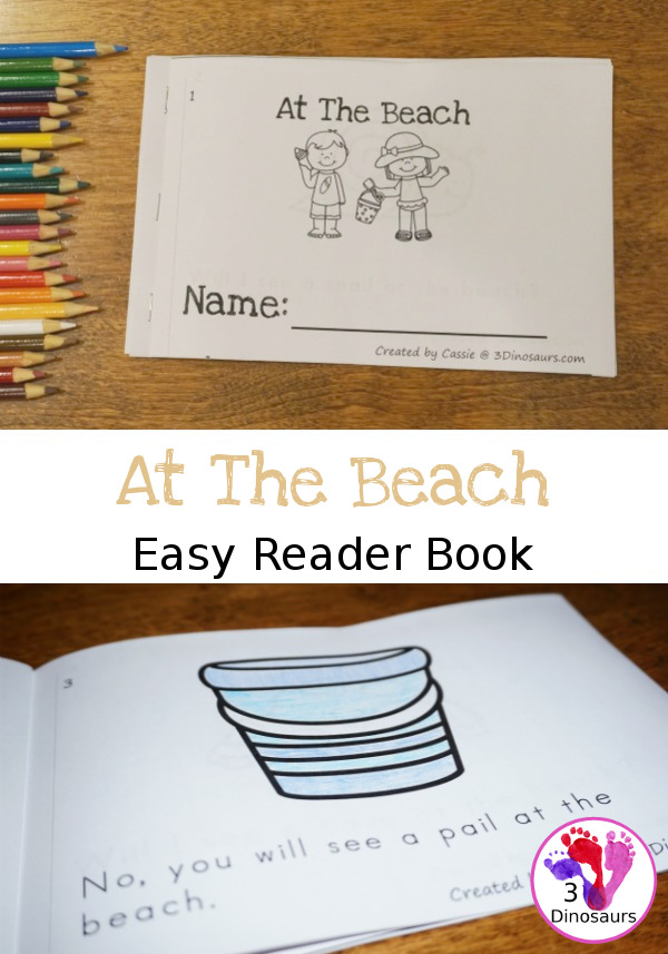 Whether you're going to the beach or just dreaming of it, these simple At the Beach easy readers are perfect for young learners! :: www.thriftyhomeschoolers.com