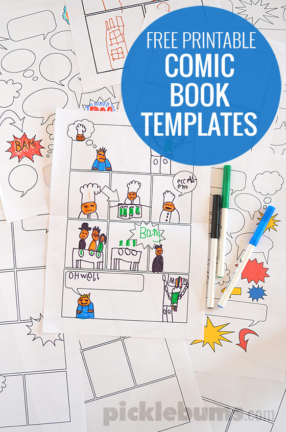These fun printable Comic Book Templates are the perfect way to help kids work on their creative writing skills. :: www.thriftyhomeschoolers.com