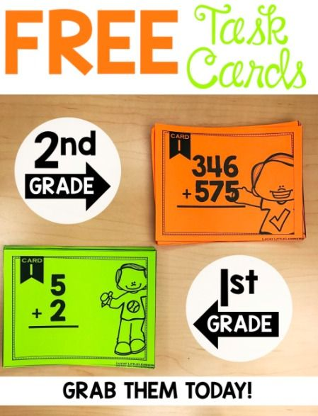 Grab these Math Task Cards for your First and Second Grade students to practice! :: www.thriftyhomeschoolers.com