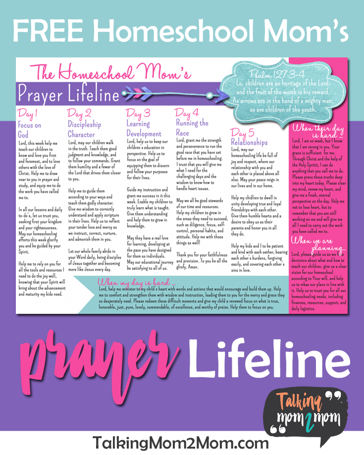 Grab this free Homeschool Mom's Prayer Lifeline to help guide you in your prayers for your children. :: www.thriftyhomeschoolers.com