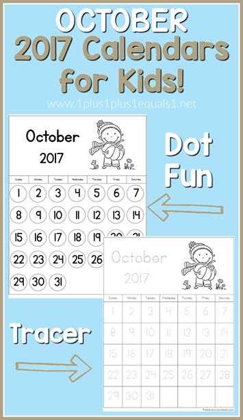 Printable October Calendar Kindergarten : Free october learning calendars
