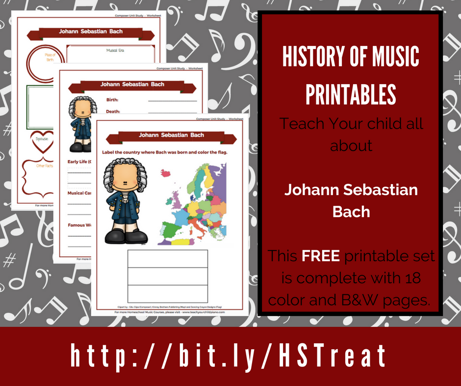 Help kids learn more about the history of music with these LIMITED TIME printables about Johann Sebastian Bach! :: www.thriftyhomeschoolers.com