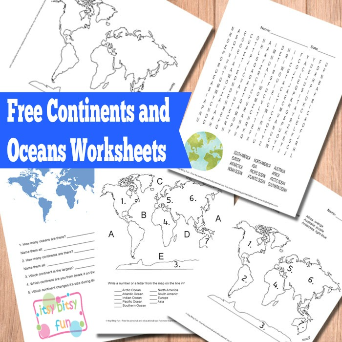 It is a picture of Intrepid Map of Continents and Oceans Printable