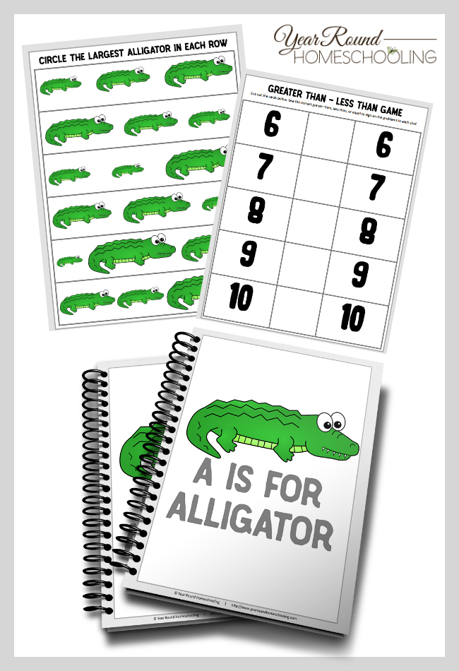 Your preschooler will love working through this fun A is for Alligator pack! :: www.thriftyhomeschoolers.com