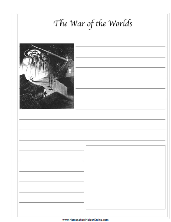 "Are you reading ""The War of the Worlds"" with your high schooler this year? Grab this FREE printable notebooking page. :: www.thriftyhomeschoolers.com"