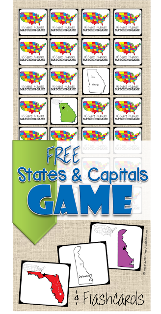 Kids will have fun working on memorizing their states and capitals with these printable cards! :: www.thriftyhomeschoolers.com