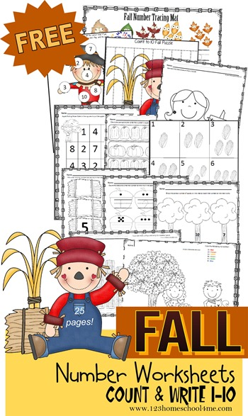 Little ones will love working on their counting skills with these Fall themed Count & Write printables that review numbers 1-10. :: www.thriftyhomeschoolers.com