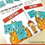 Free Letter v. Word Firefighter Sorting Activity