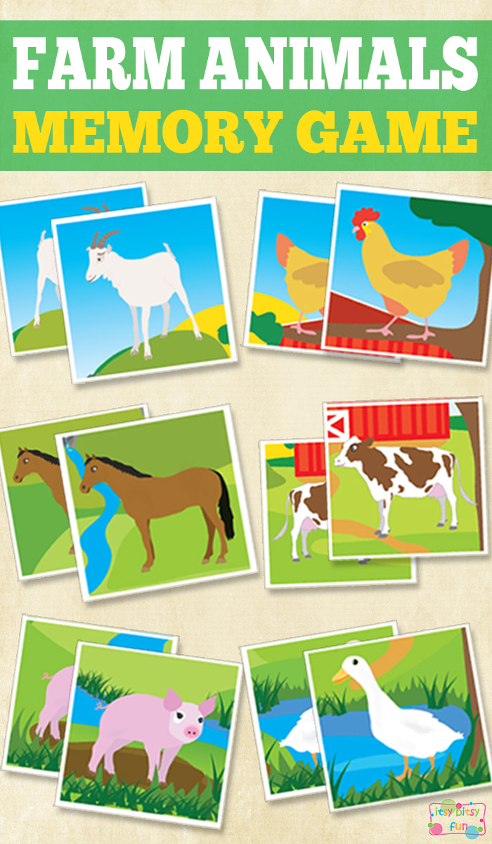 Work on their memory skills with this adorable Farm Animals Memory Game printable set! :: www.thriftyhomeschoolers.com