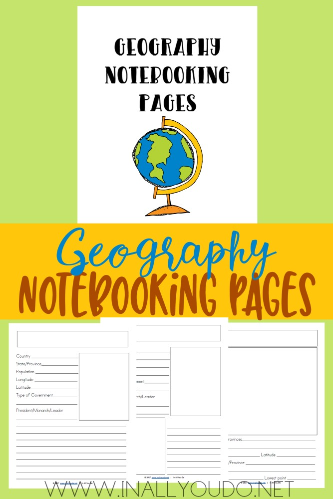 These FREE Geography Notebooking Pages can be used with any US or World Geography curriculum or unit study. They are perfect for Elementary thru High School too! :: www.thriftyhomeschoolers.com