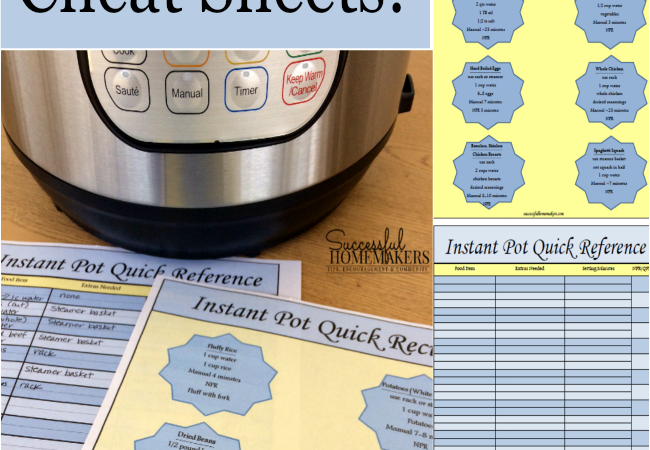 Free Instant Pot Cheat Sheets